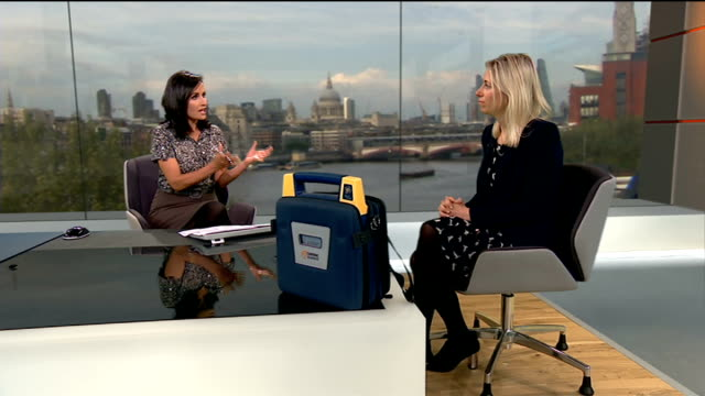 schools to be able to buy defibrillators at a reduced cost england london gir int mary smith live studio interview sot - ニナ・ホサイン点の映像素材/bロール