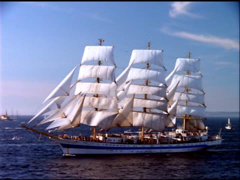 schooner sails on ocean, norway - sailing ship stock videos & royalty-free footage