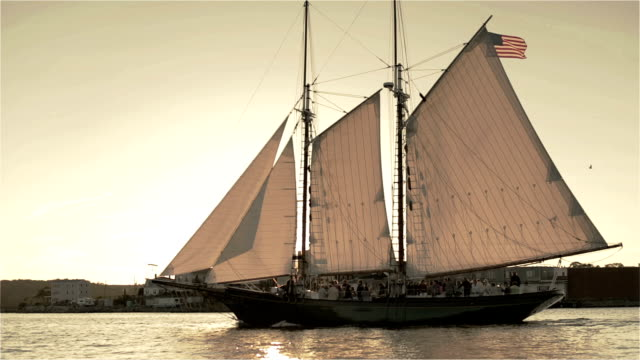 schooner under full sail - gloucester massachusetts stock videos & royalty-free footage