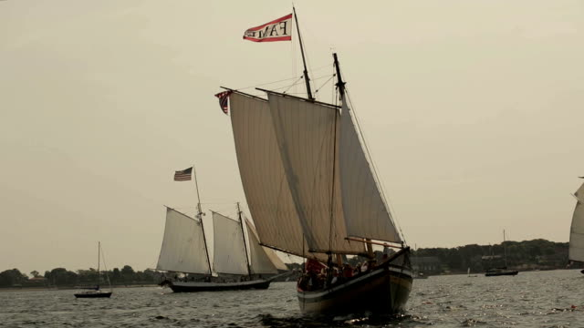schooners under full sail - gloucester massachusetts stock videos & royalty-free footage