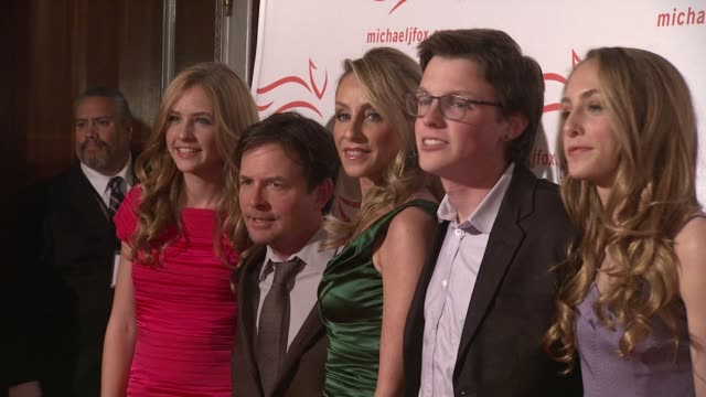 schuyler fox michael j fox tracy pollan sam fox and aquinnah fox at the 2011 a funny thing happened on the way to cure parkinson's red carpet at new... - michael j. fox stock videos and b-roll footage