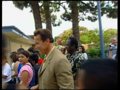 Schwarzenegger along campaigning and shaking hands TRACK