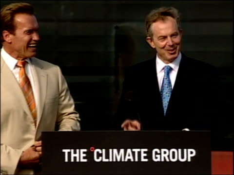 Schwarzenegger and Blair unite on global warming Press conference Tony Blair MP press conference SOT That is definately the best offer I've had...