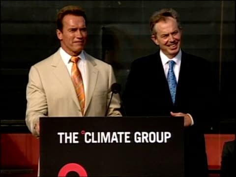 Schwarzenegger and Blair unite on global warming Press conference Arnold Schwarzenegger press conference SOT Really can not give him advise on what...