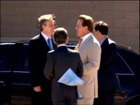 Schwarzenegger and Blair unite on global warming Press conference Blair from car and greeted by Schwarzenegger / Blair Schwarzenegger and BP Chairman...
