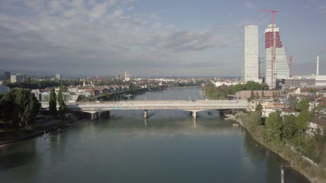 schwarzwaldbrücke spanning over the rhine river in basel, switzerland - river rhine stock videos & royalty-free footage