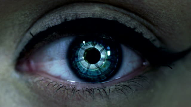 fantascienza occhio - cyborg video stock e b–roll