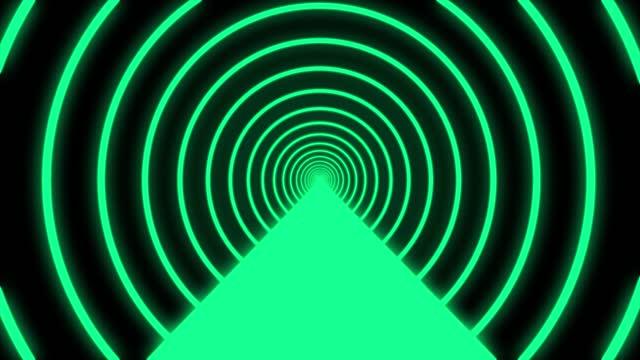 stockvideo's en b-roll-footage met sci fi futuristische gloeiende cirkel tunnel met neon light lines naadloze, mooie abstracte tunnel groene heldere kleuren achtergrond, vj motion achtergrond, looped 3d animation art concept - vj