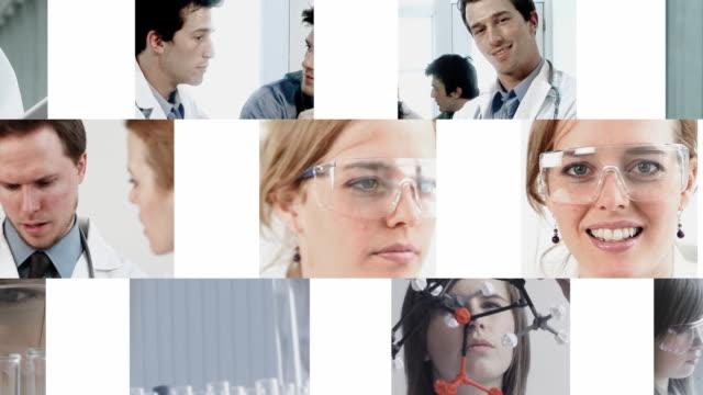 vídeos y material grabado en eventos de stock de ciencia médico montaje - pantalla dividida