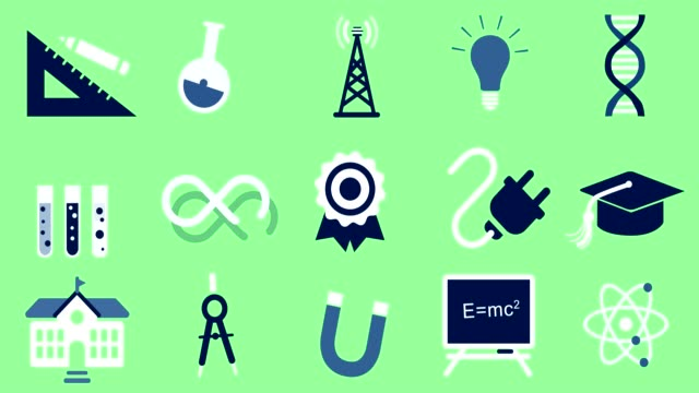 vídeos de stock e filmes b-roll de science & education animated icons - lampada