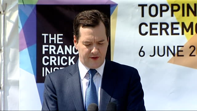 George Osborne attends Francis Crick Institute George Osborne speech SOT Great pleasure to be here / Want to pay tribute to everyone who has made...