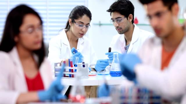 ms science students examining chemicals in petri dish at laboratory / delhi, india - pallone di vetro video stock e b–roll