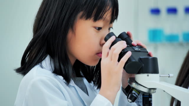 science students kid looking in microscope in the laboratory at the school.teacher and curious students conducting scientific experiment in classroom laboratory.education,technology,teamwork,science and people concept.education topics - microscope stock videos & royalty-free footage