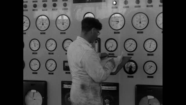 scientist checks gauges inside a nuclear power station in uk; 1956 - gauge stock videos & royalty-free footage