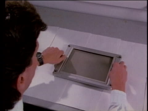 1990 montage scientist examining filter to determine air pollution contaminants, usa, audio - 1990 stock videos & royalty-free footage