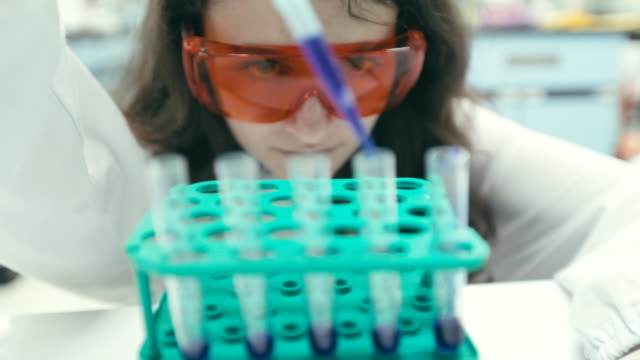 scientist finding a cure in laboratory, concept science and technology , research in the laboratory, slow motion - biotecnologia video stock e b–roll