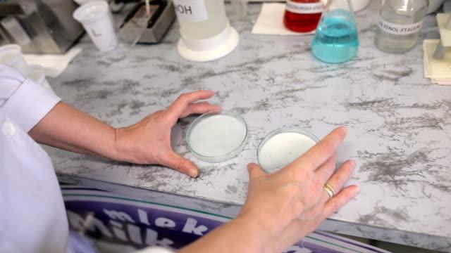 vidéos et rushes de chercheur au laboratoire d'essai des produits laitiers. analyse de lait - marchandise