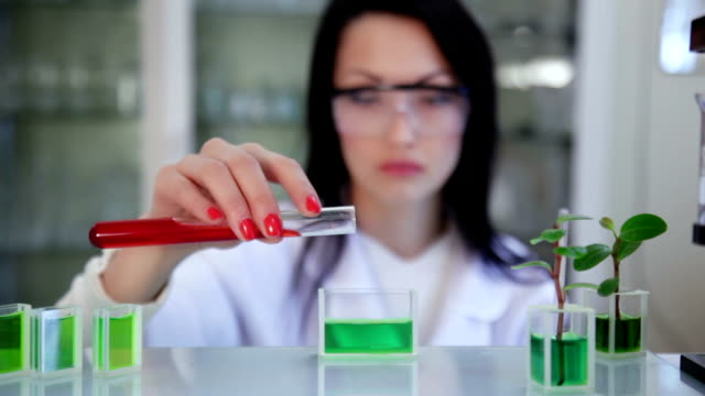 Scientist in the laboratory mixing two kinds of preparation