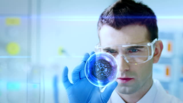 Scientist is analysing DNA structure. Genetic testing