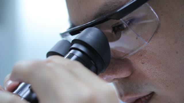 vídeos de stock e filmes b-roll de cientista usando microscópio com é - microscópio