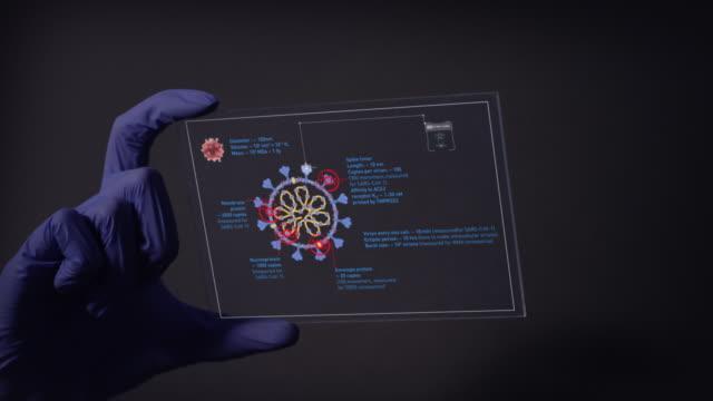 scientist studying coronavirus mutations. virtual touch screens on black background - genetic mutation stock videos & royalty-free footage