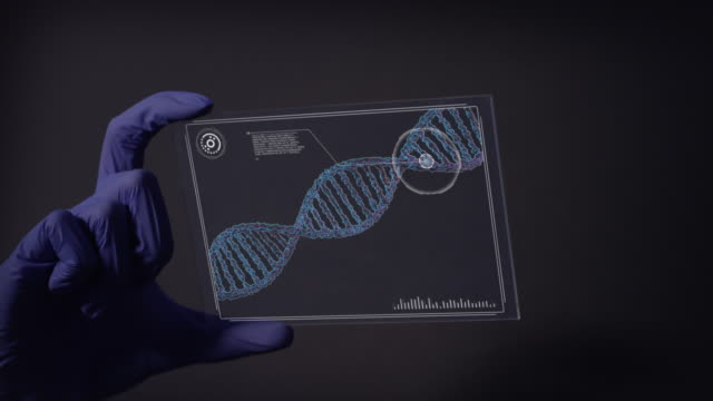 scientist studying dna mutations. virtual touch screen close up - prototype stock videos & royalty-free footage