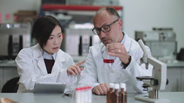 scientist team working in laboratory - 白衣点の映像素材/bロール
