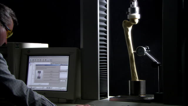 a scientist uses a computer to plot a graph of a human bone under pressure. - bone stock videos & royalty-free footage
