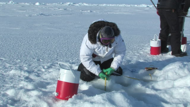 scientist uses tape to meter line into a hole in the ice in the arctic september 21 2008 – from the historic 17month expedition involving 250... - climate scientist stock videos & royalty-free footage
