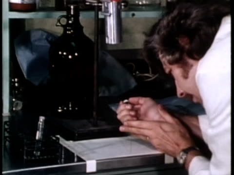 1976 montage ms cu scientist using chromatography for analysis / united states / audio - pipette stock videos & royalty-free footage