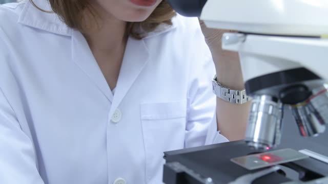 hd: scienziato utilizzando un microscopio - scienziata video stock e b–roll