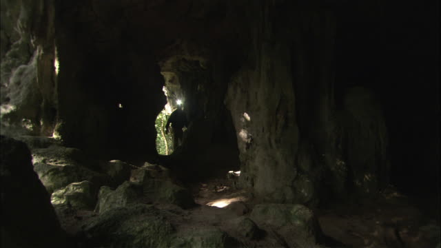 a scientist with a headlamp walks inside a dark cave. - cave stock videos and b-roll footage