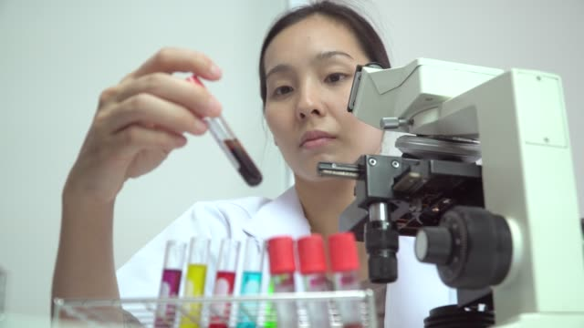 scientist woman and bio lab experiment - prevenzione delle malattie video stock e b–roll