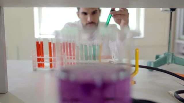 scientist working in laboratory - pensionati lavoratori video stock e b–roll