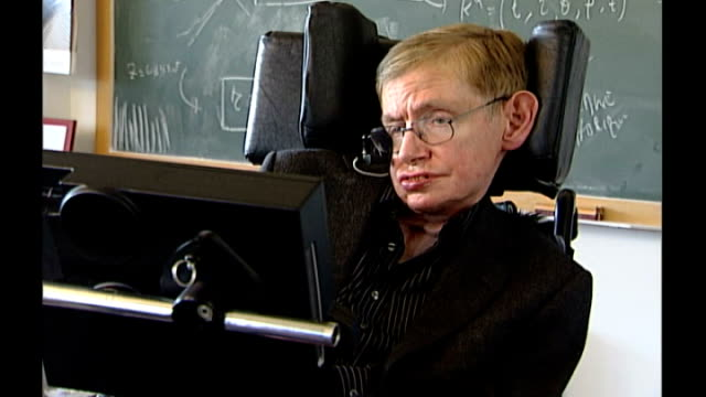 Scientists call for government to grant posthumous pardon to codebreaker Alan Turing T24080638 Professor Stephen Hawking sitting