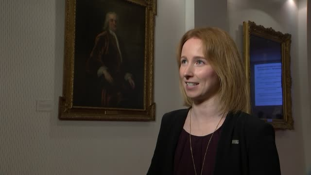 scientists detect collision between neutron stars; london: royal society: dr kate maguire interview sot - neutron stock-videos und b-roll-filmmaterial