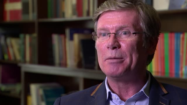 scientists develop new urine test for earlystage pancreatic cancer professor nick lemoine interview sot larry rees setup shots with reporter /... - pancreatic cancer stock videos and b-roll footage