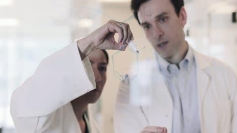 vídeos y material grabado en eventos de stock de scientists drawing science formula on glass - fórmula química