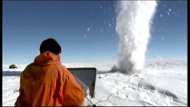 scientists due to start anatarctic lake investigations r14010812 / british antarctic survey scientists conducting seismic explosions on lake elsworth - antarctica scientist stock videos & royalty-free footage