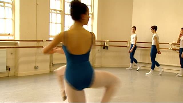 vídeos de stock, filmes e b-roll de scientists examine ballet dancer pirouettes in search for dizziness cure central school of ballet various of ballet dancers performing pirouettes... - pirouette