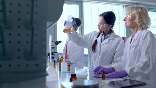 scientists examining flask with chemical and smoke - laboratory flask stock videos & royalty-free footage