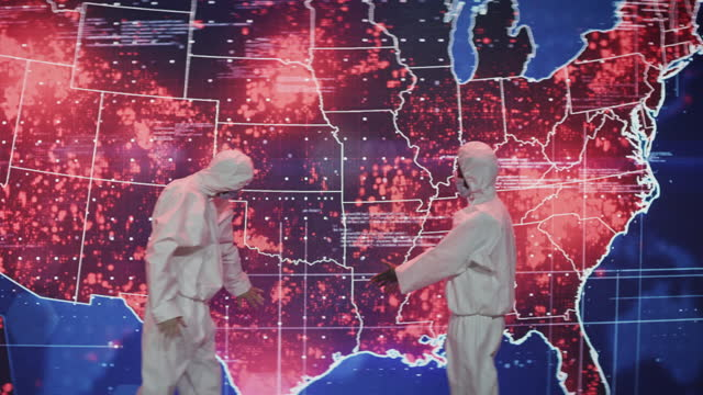scientists in clean suits. infection map of usa projection. very high infectivity - biomedical illustration stock videos & royalty-free footage