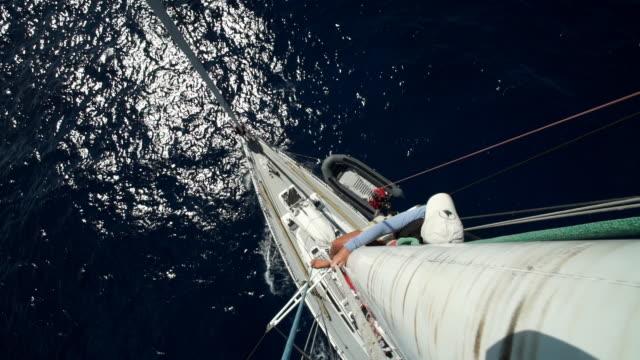 scientists on a yacht-like boat track whales - ドミニカ共和国点の映像素材/bロール