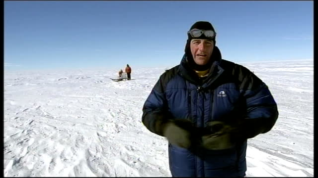 Scientists search for hidden lake ANTARCTICA Ellsworth EXT Scientists drilling through ice to produce ice cores Andy Smith interview SOT as showing...