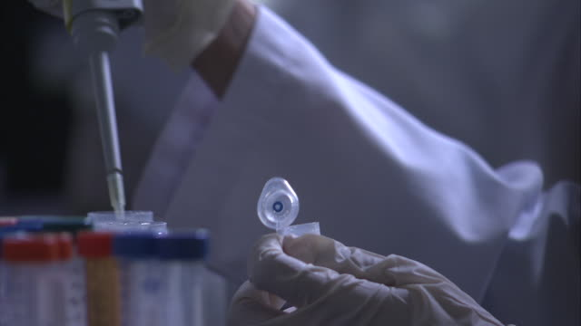 a scientists uses a syringe to fill vials in a laboratory. - spritze stock-videos und b-roll-filmmaterial