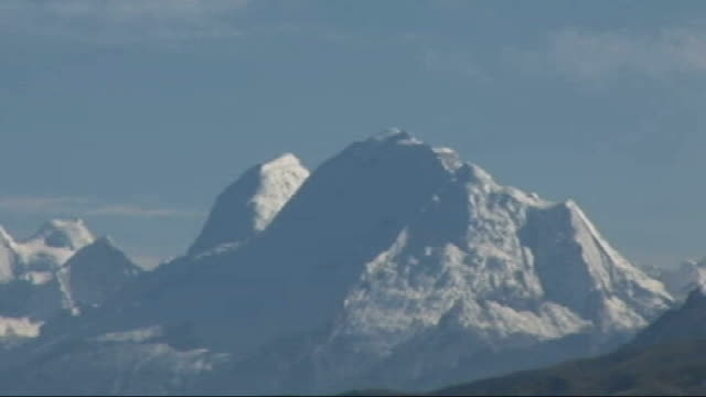 scientists warn andes glaciers may disappear within two decades; ext general view of andes mountain range against blue sky - mountain range stock videos & royalty-free footage