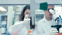Scientists working in laboratory, Researchers looking into a microscope and woman finding a cure in laboratory, Concept science