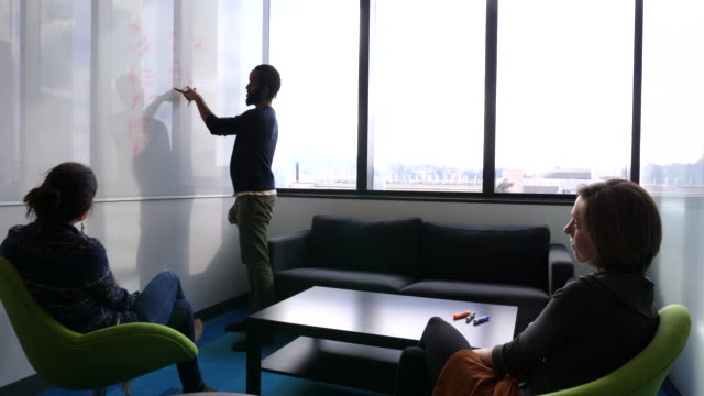 pan scientists working on data on whiteboard in research lab conference room - university of washington stock videos & royalty-free footage