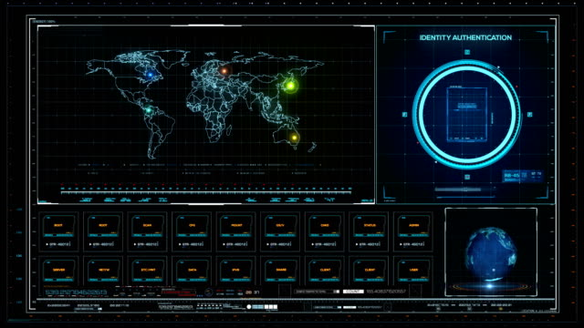 sci-fi strategic concept of dashboard. system control monitor - graphical user interface stock videos & royalty-free footage