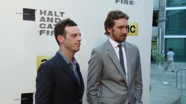 scoot mcnairy and lee pace at amc's halt and catch fire los angeles premiere at arclight cinemas on may 21 2014 in hollywood california - arclight cinemas hollywood stock videos and b-roll footage